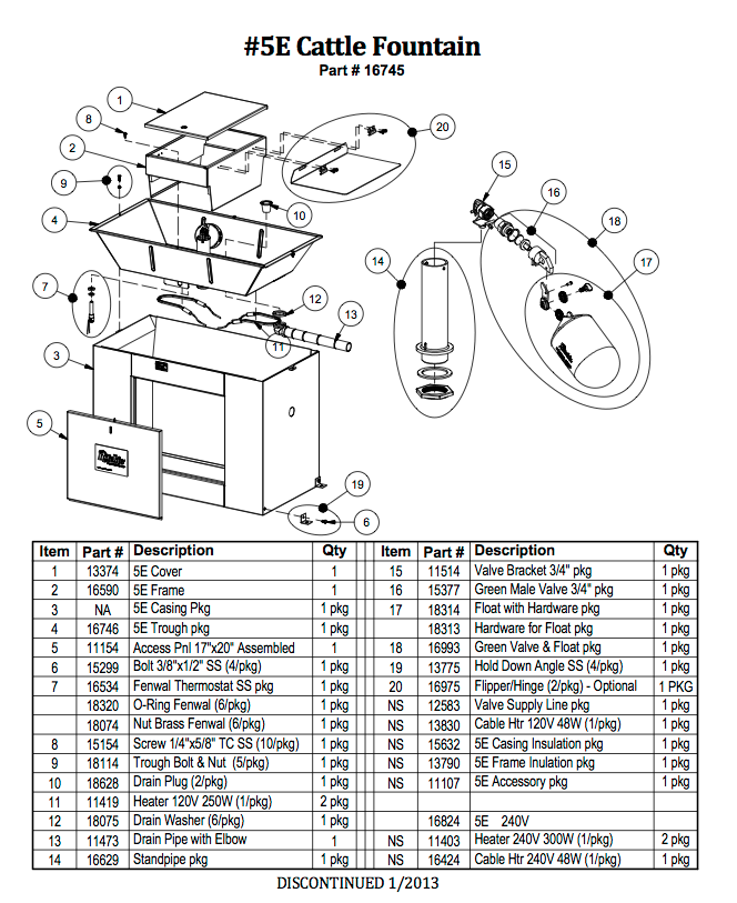Cattle Fountain 5E Parts List- DISCONTINUED WATERER
