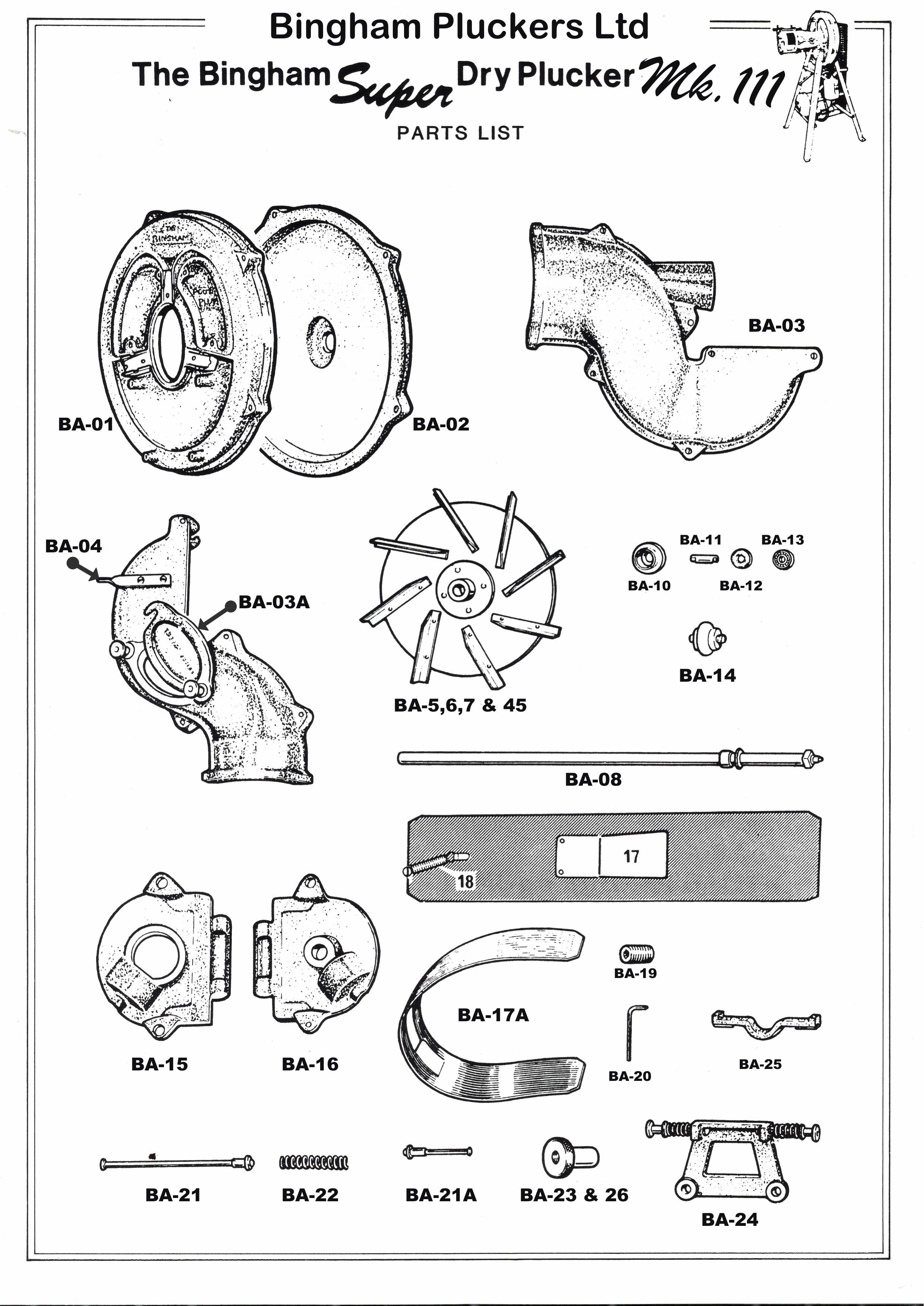 Bingham plucking machine spare parts list page 1