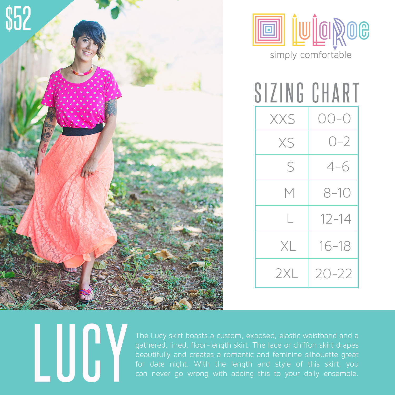 131a2ce37 With the length and style of this skirt, you can never go wrong with adding  this to your daily ensemble. Lucy XX-Small (XXS) LuLaRoe ...