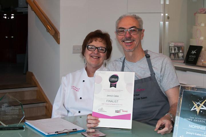 Tom and Jenny, owners of Jenny's Cakes Award-Winning Wedding Cake Bakery.
