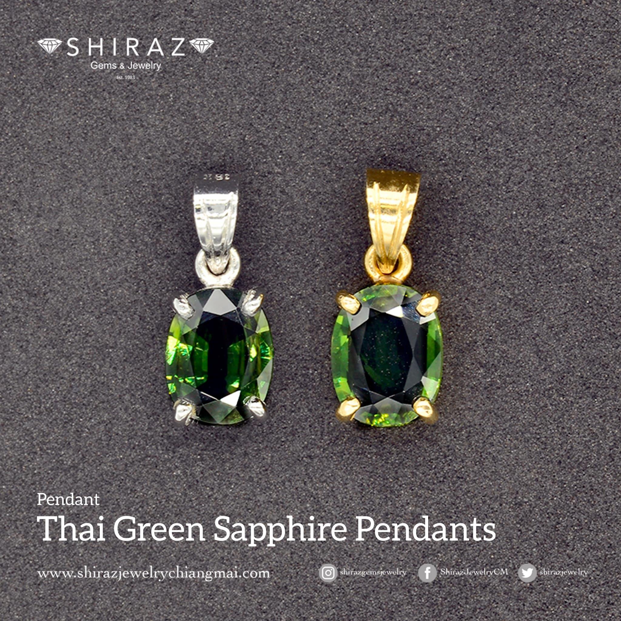 Pendant with Thai green sapphire