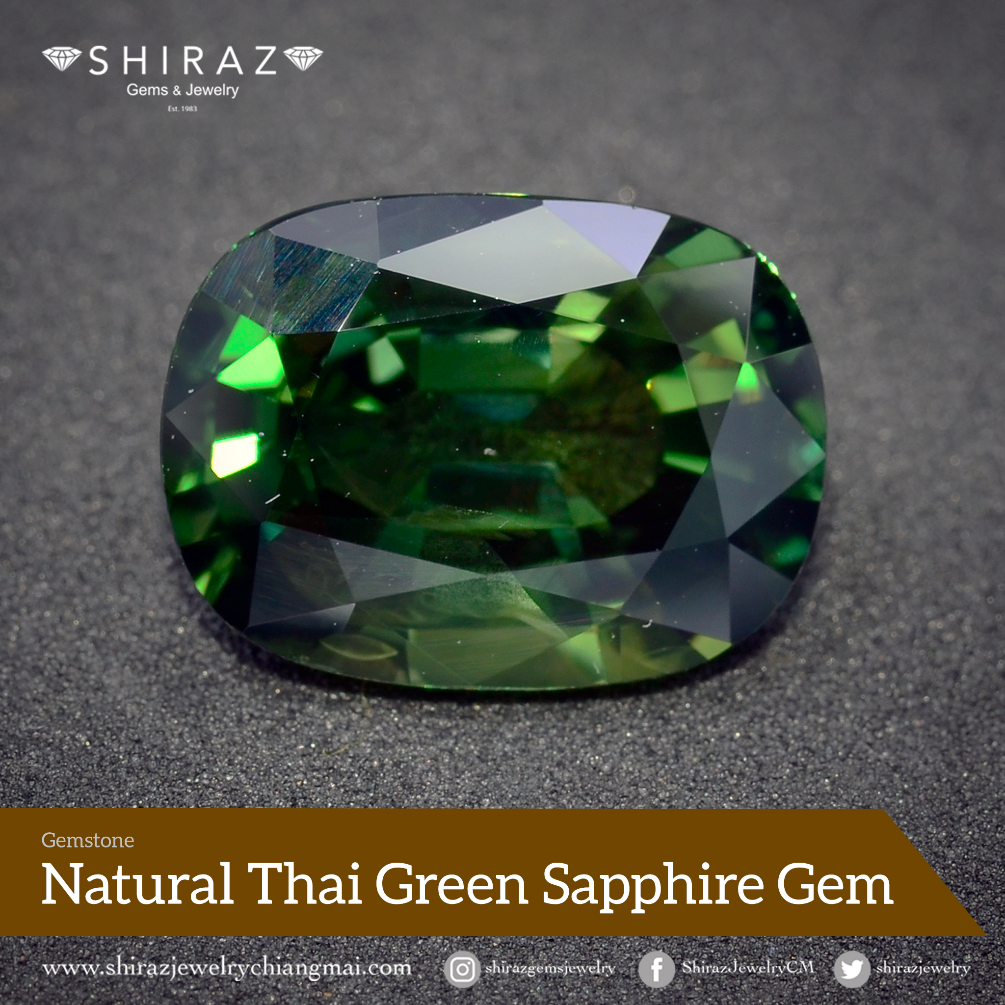 Natural large loose Thai green sapphire from Shiraz Jewelry in Thailand
