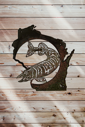 Musky Wisconsin on wood wall
