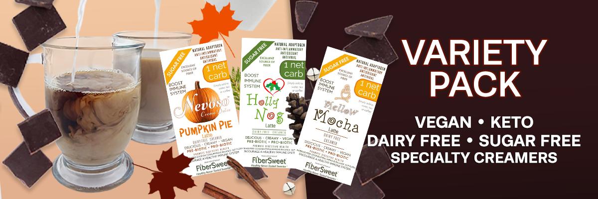 Latte Variety Packs - Mellow Mocha - Pumpkin Pie - Holly Nog - Boost Immune System - VEGAN  KETO