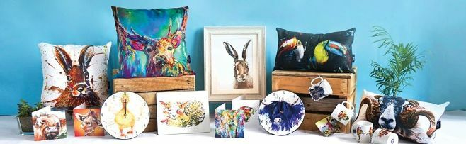 Wraptious Supporting Artists. Cushions and Mugs