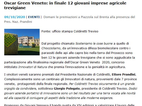 Oscar Green Veneto: in finale 12 giovani imprese agricole trevigiane.