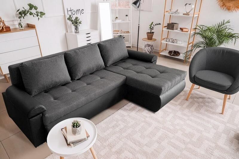 Beautiful Savanna Fabric with White Eco Leather Corner Sofa Bed LORETO (Black)