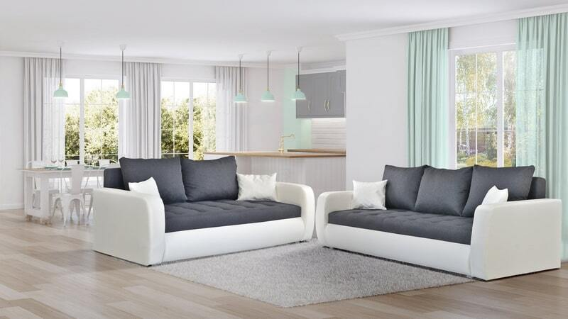 A luxurious set of sofas with a sleeping function - ROXI WHITE and Grey