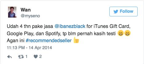 Udah 4 thn pake jasa @ibanezblack for iTunes Gift Card, Google Play, dan Spotify, tp blm pernah kasih testi 😁😁 Agan ini #recommendedseller