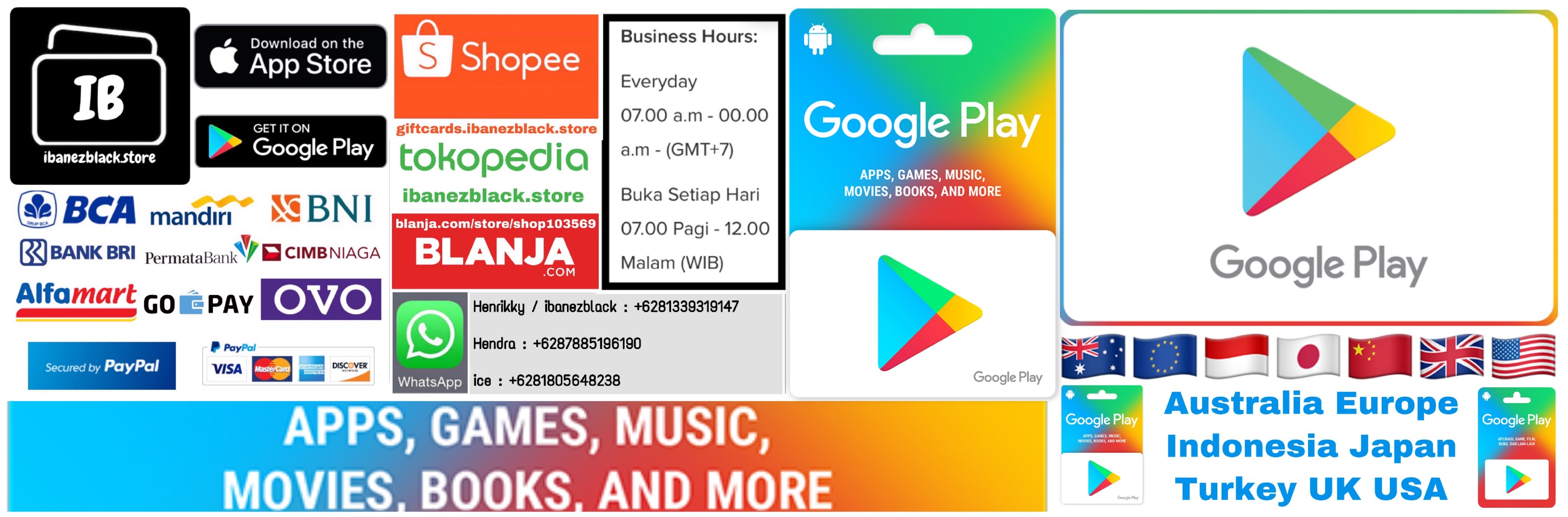 Google Play Gift Card Australia Europe Indonesia Japan Turkey UK USA