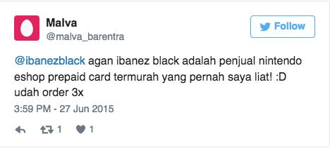 @ibanezblack agan ibanez black adalah penjual nintendo eshop prepaid card termurah yang pernah saya liat! :D udah order 3x