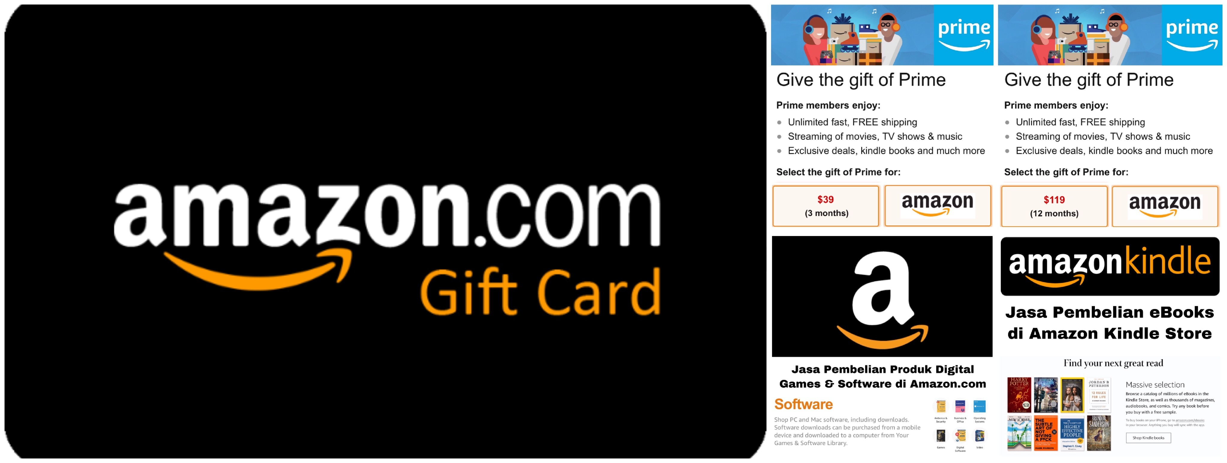 Amazon Gift Card US $5 $10 $15 $20 $25 $50 $100, Amazon Prime, Jasa Belanja Amazon