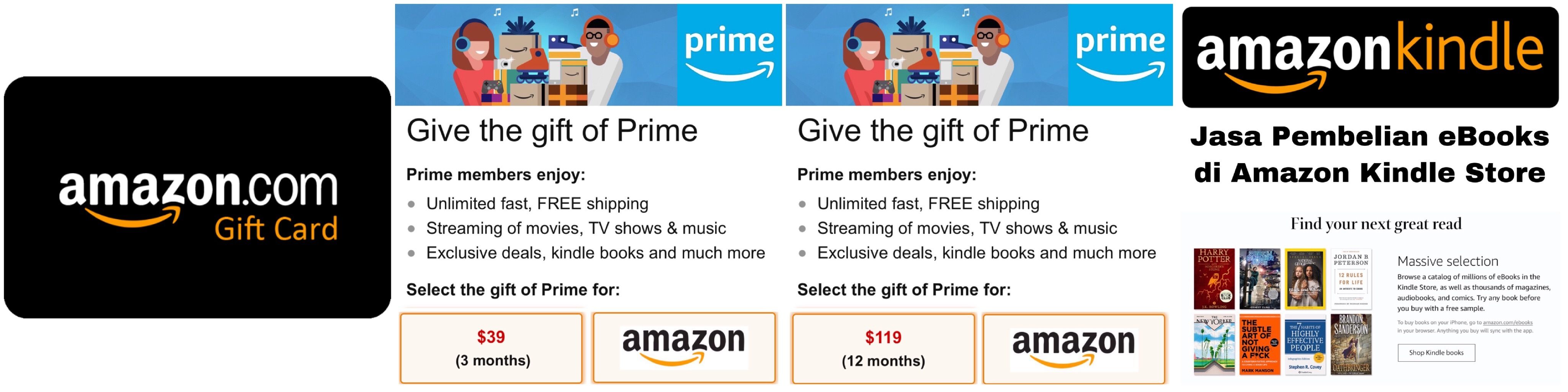 Amazon Gift Card US nominal $5, $10, $15, $20, $25, $50, $100 dan Amazon Prime Give the gift of Prime 3 Months, 12 months - ibanezblack.store