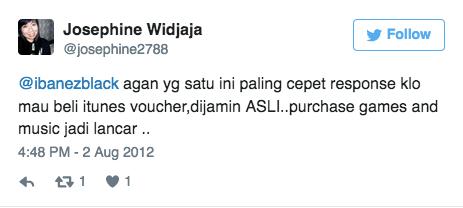 @ibanezblack agan yg satu ini paling cepet response klo mau beli itunes voucher,dijamin ASLI..purchase games and music jadi lancar ..