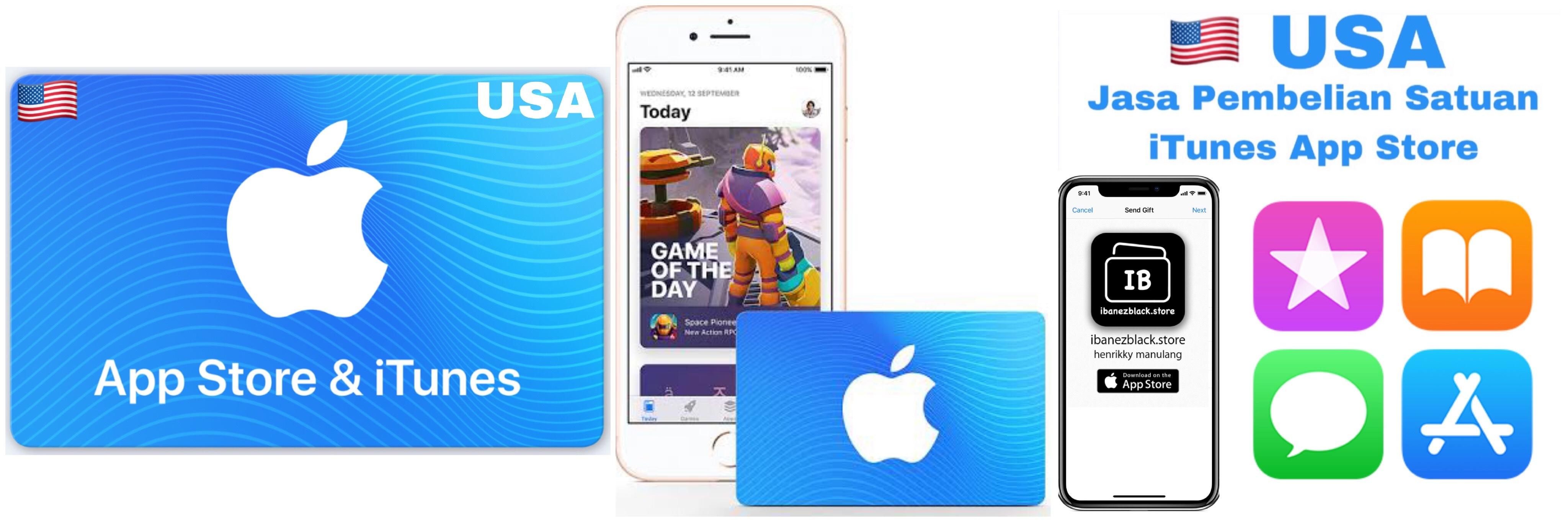 Apple iTunes Gift Card US $5 $10 $15 $20 $25 $30 $50 $100 $200. Jasa Pembelian secara satuan iTunes App Store region USA