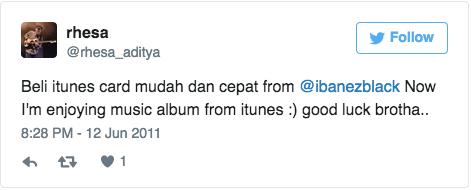 Beli itunes card mudah dan cepat from @ibanezblack Now I'm enjoying music album from itunes :) good luck brotha..