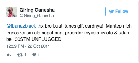 @ibanezblack thx bro buat itunes gift cardnya!! Mantep nich transaksi sm elo cepet bngt.preorder myxolo xyloto & udah beli 30STM UNPLUGGED