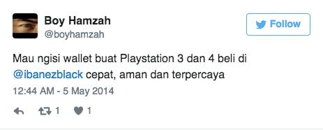 Mau ngisi wallet buat Playstation 3 dan 4 beli di @ibanezblack cepat, aman dan terpercaya