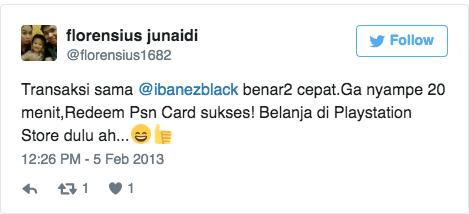 Transaksi sama @ibanezblack benar2 cepat.Ga nyampe 20 menit,Redeem Psn Card sukses! Belanja di Playstation Store dulu ah..