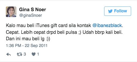 Kalo mau beli iTunes gift card sila kontak @ibanezblack. Cepat. Lebih cepat drpd beli pulsa ;) Udah bbrp kali beli. Dan ini mau beli lg :))
