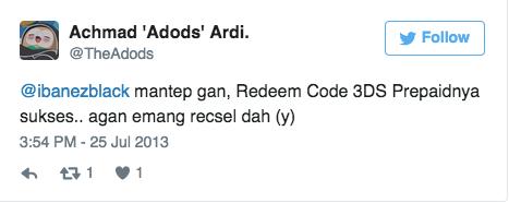 @ibanezblack mantep gan, Redeem Code 3DS Prepaidnya sukses.. agan emang recsel dah