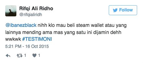 @ibanezblack nihh klo mau beli steam wallet atau yang lainnya mending ama mas yang satu ini dijamin dehh wwkwk #TESTIMONI