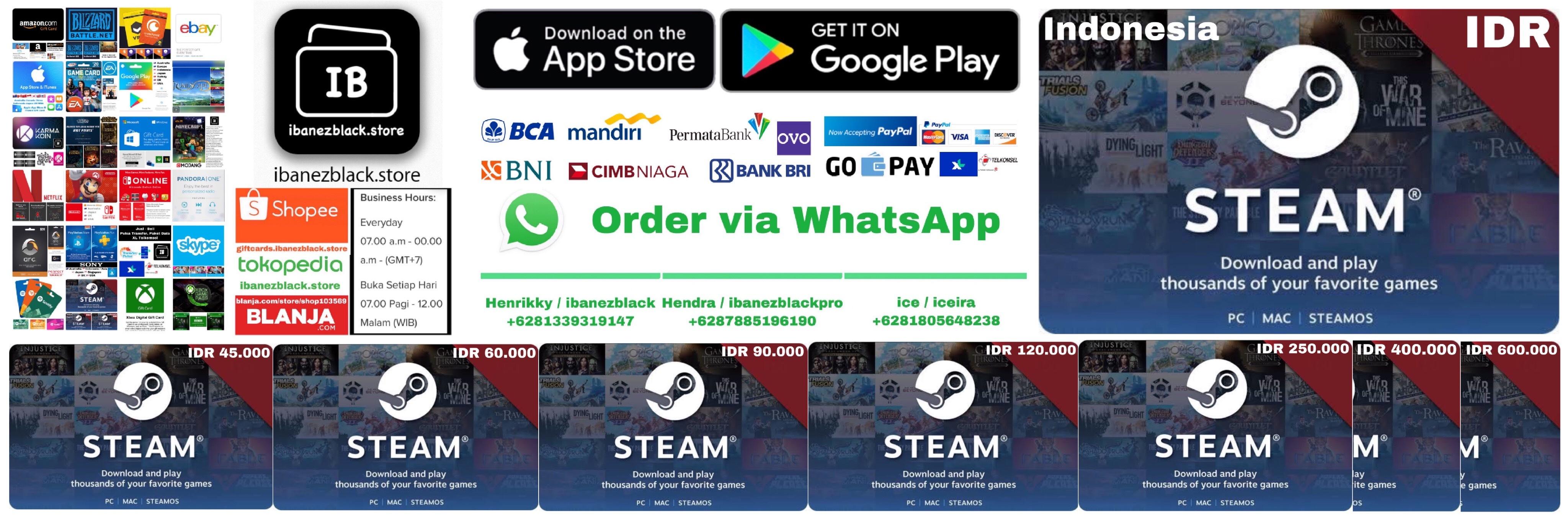 Steam Wallet Code Indonesia IDR 45000 60000 90000 120000 250000 400000 600000
