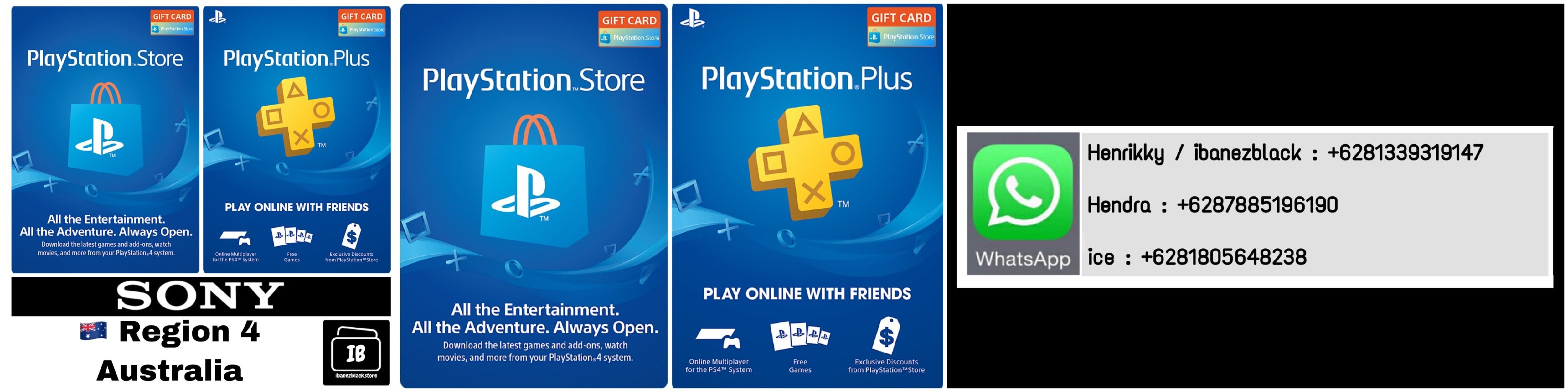 Playstation Store Gift Card (PSN Card) / Playstation Plus (PSN Plus) Australia