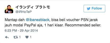 Mantap dah @ibanezblack, bisa beli voucher PSN jarak jauh modal PayPal aja, 1 hari klaar. Recommended seller