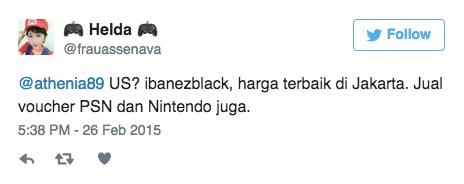 @athenia89 US? ibanezblack, harga terbaik di Jakarta. Jual voucher PSN dan Nintendo juga.
