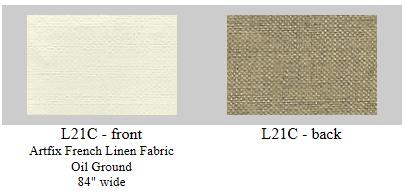 "L21C Artfix Belgian Linen hand primed in France. Oil ground, 84"" wide."