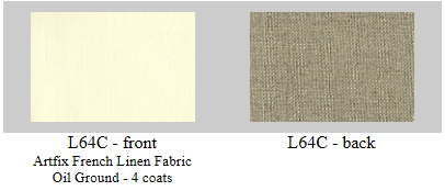 """L64C Artfix Belgian linen hand primed in France, 4 coats oil priming, 84"""" wide- available in 5.5 and 11 yard rolls or by the yard."""