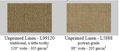 Rough textured & portrait grade raw unprimed artist linen