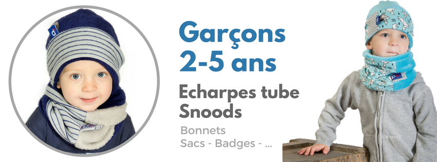 echarpes tube snoods bonnets foulards garçons de 2 à 5 ans reddepois