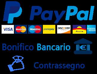 tutti i Metodi di pagamento accettati payopal, postepay, carte di credito e di debito, contrassegno