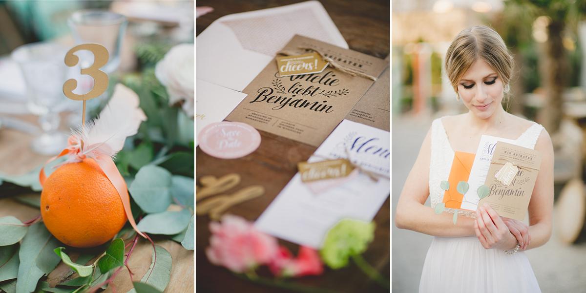 Hochzeitseinladung auf Kraftpapier