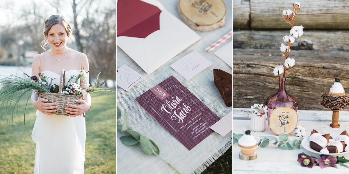 Gemusterte Hochzeitseinladung in Weinrot