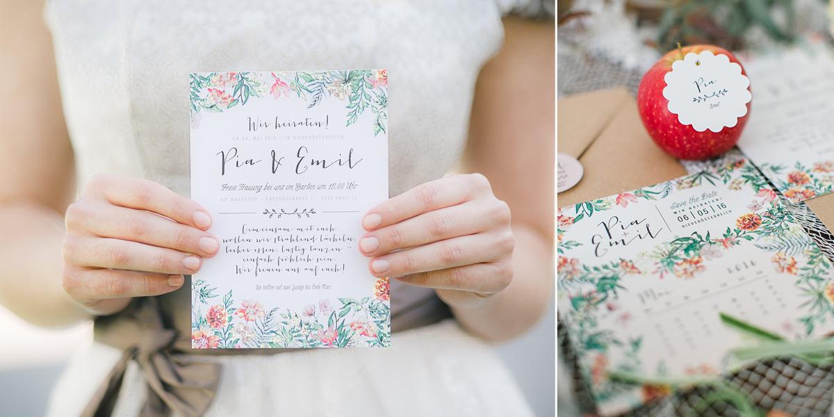 Hochzeits-Papeterie mit Aquarellblumen