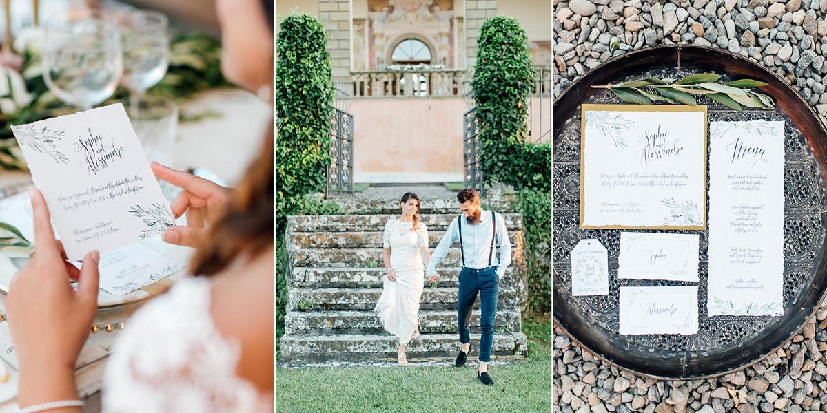 Hochzeitseinladung mit Olivenblättern – natürlich und elegant