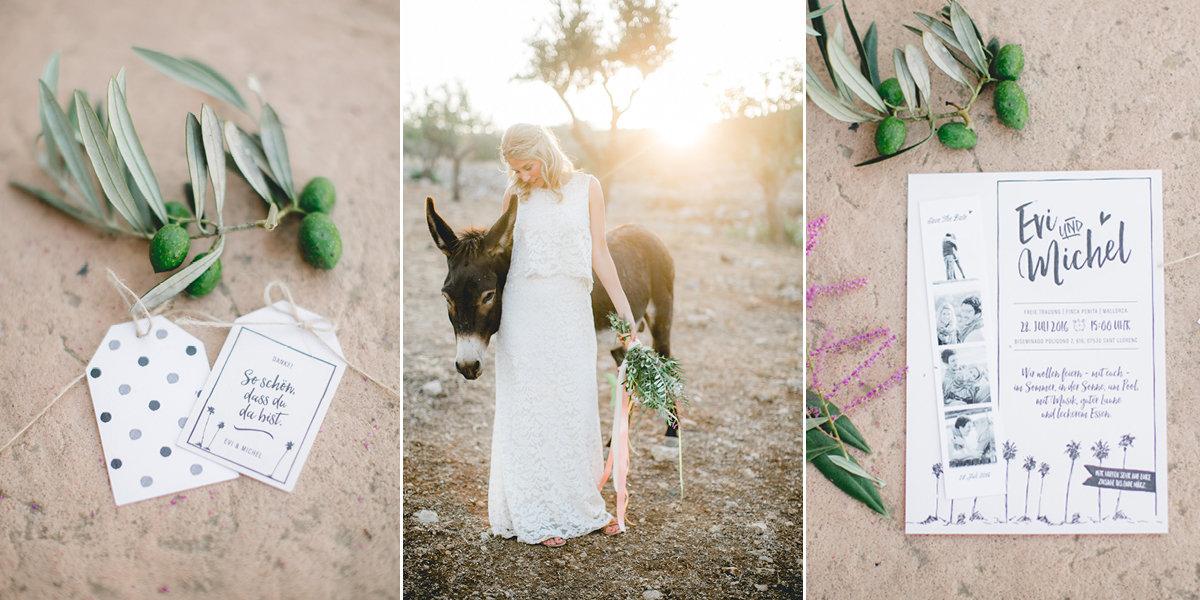 Hochzeitseinladung mit Palmen