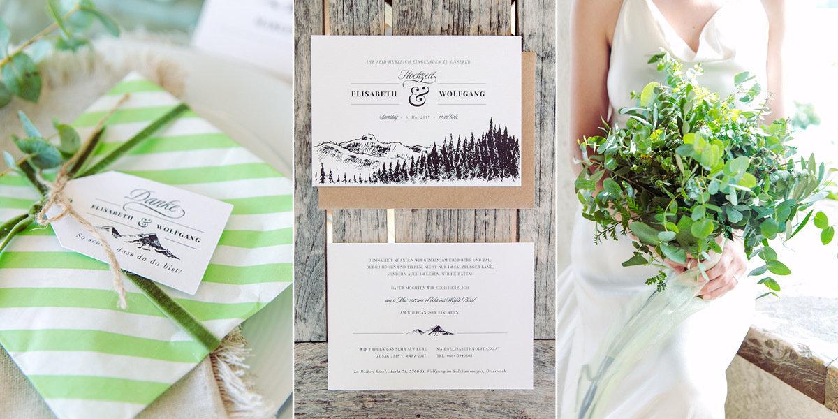 Elegante Hochzeitseinladung mit Bergen