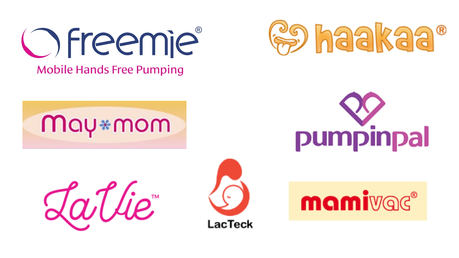 Logos of Freemie, Pumpin Pal, Haakaa, Mamivac, Maymom, Lacteck and Lavie.  BeauGen products now also available.  All available Australia wide, for Spectra and Medela breast pumps