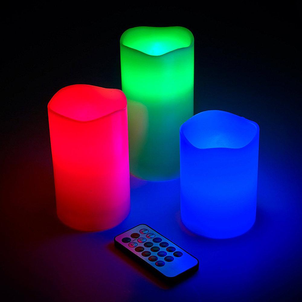 Lot de 3 bougies lumineux avec 12 éclairages 11