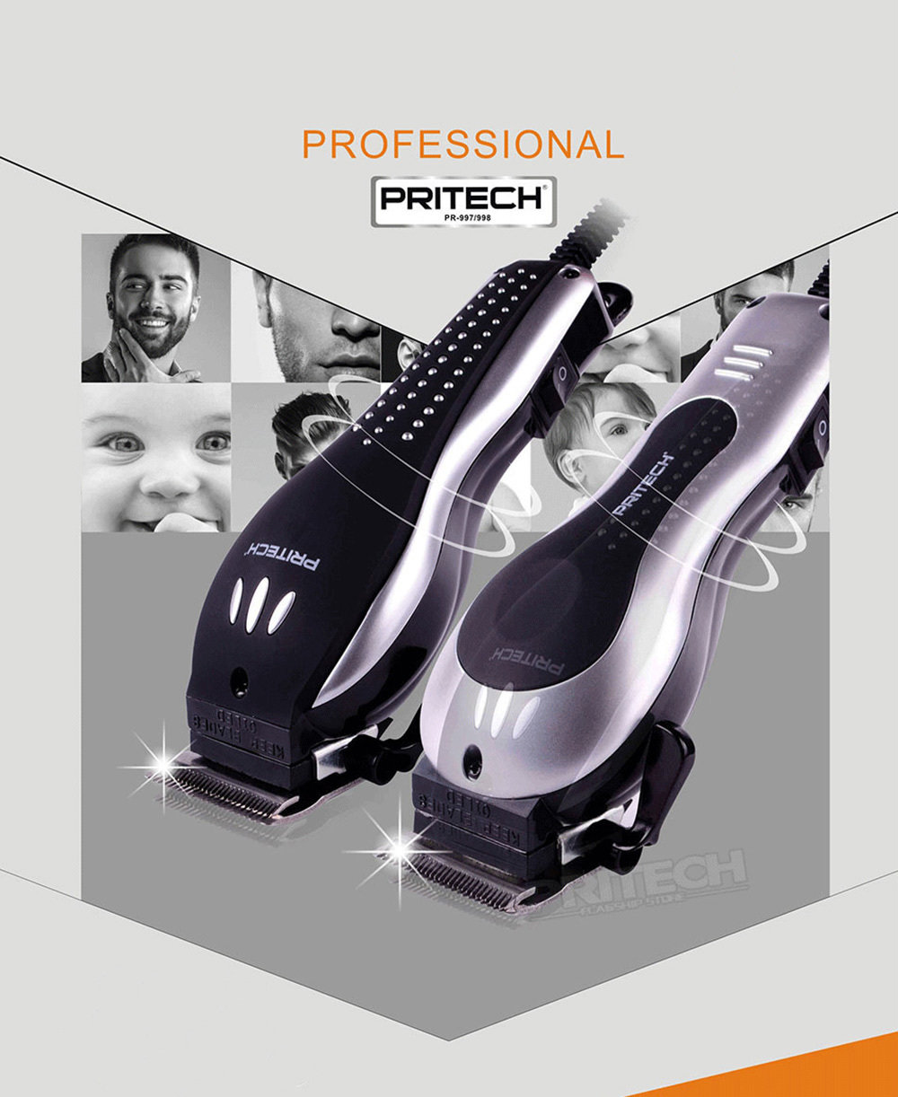 PRITECH Tondeuse à cheveux professionnelle avec 4 sabots 12