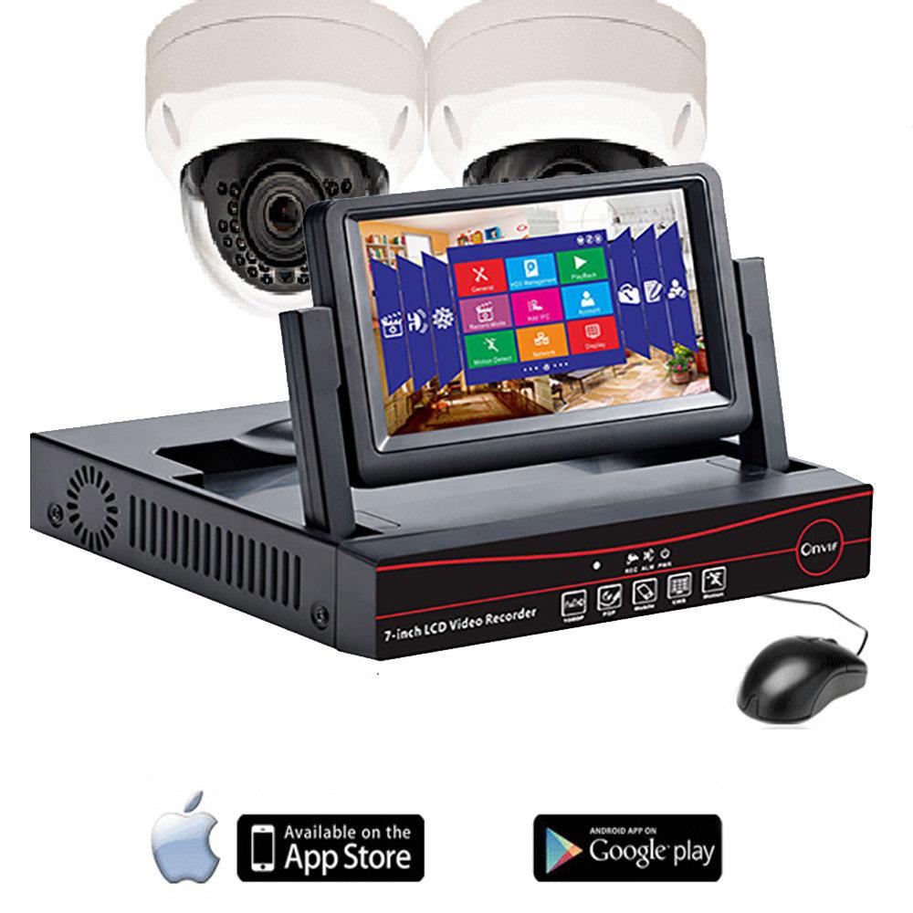 """NVR avec ecran LCD 7"""" pour 4 caméras de sécurité IP 12"""