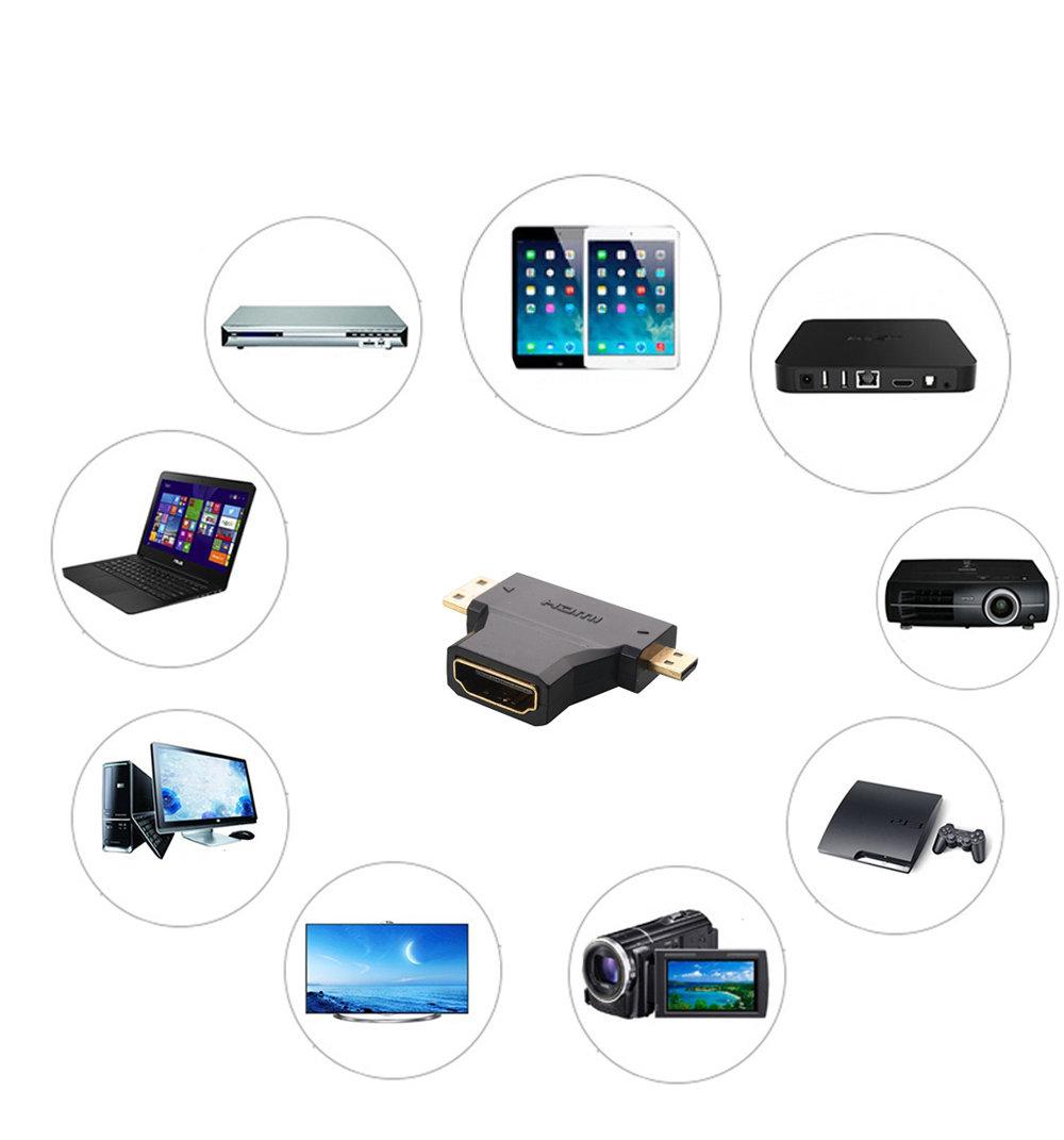 "Adaptateur en ""T"" Mini HDMI ou HDMI Micro vers HDMI-11"
