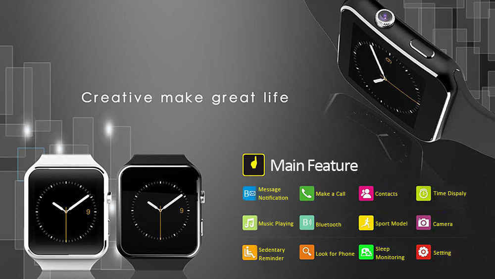 accessoires smartphones - Montre intelligente connectée Smartwatch X6 13