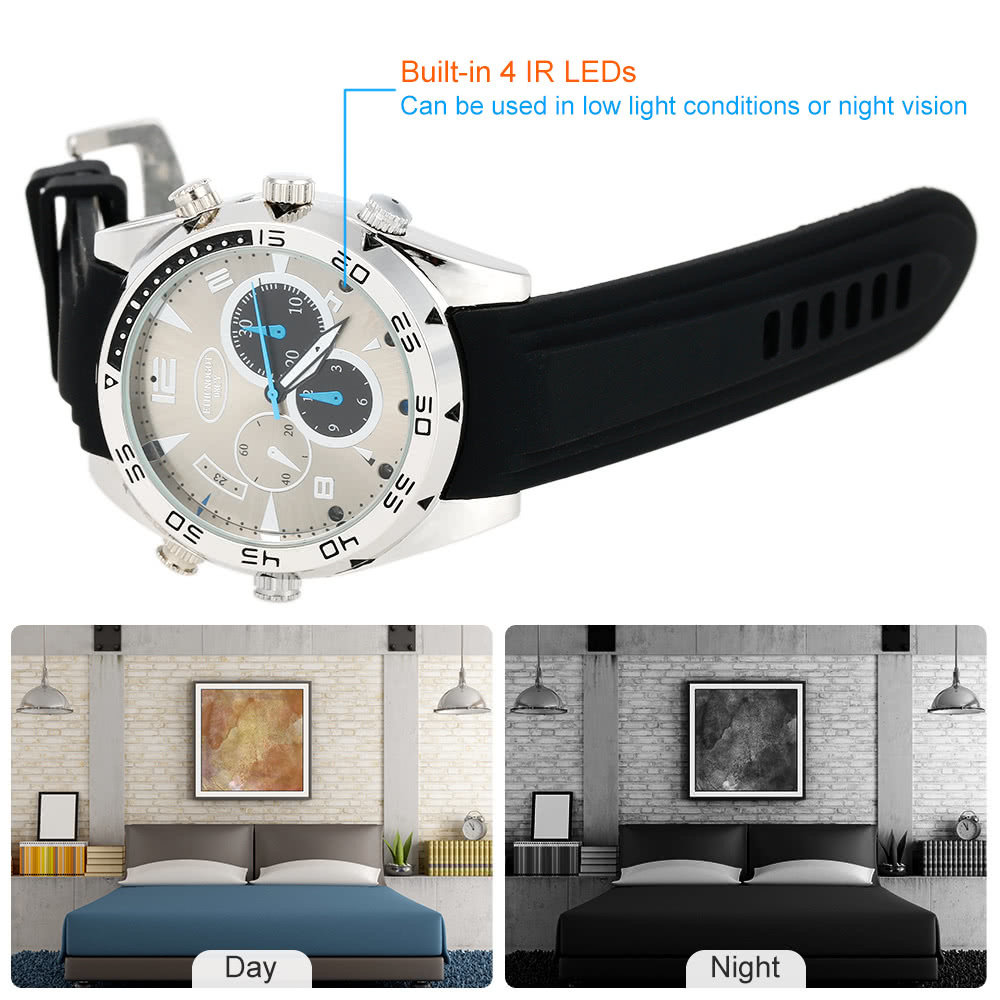 Caméra espion surveillance HD vision nocturne cachée montre - 14