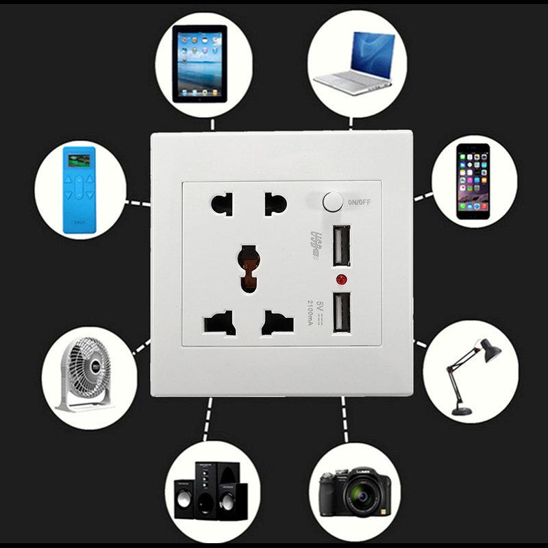 autre prise mural universelle avec 2 ports de recharge rapide usb au maroc prix pas cher. Black Bedroom Furniture Sets. Home Design Ideas