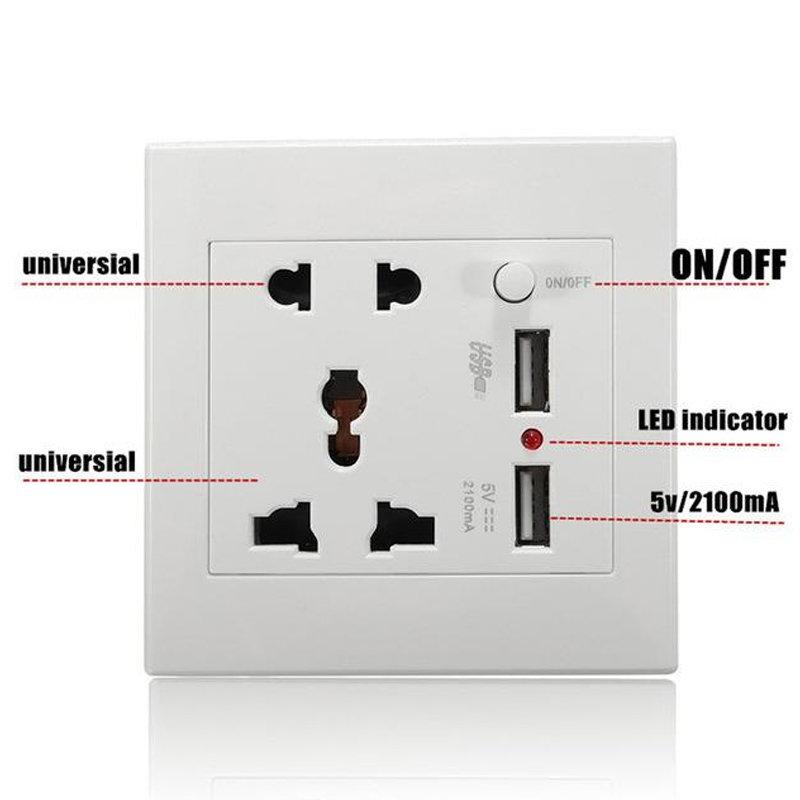 Prise électrique mural avec double port de recharge rapide USB pour les smartphones 14